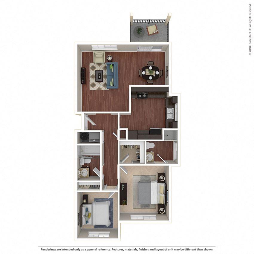 2BR/2BA B Floor Plan at Crooked Oak at Loma Verde Preserve, Novato, CA