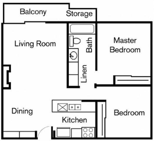 2BR/1BA Floorplan at Chatsworth Pointe