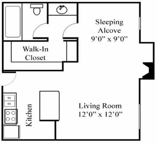 Studio Floorplan at Northview-Southview Apartment Homes