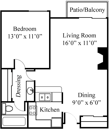 1 bedroom/1 bathroom floor plan at Northview-Southview Apartment Homes