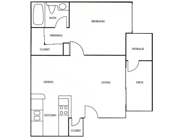 1BR/1BA B Floorplan at Independence Plaza, 8735 Independence Avenue, 91304