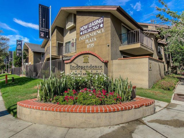 Beautifully-Landscaped Grounds at Independence Plaza Apartments, Canoga Park, CA