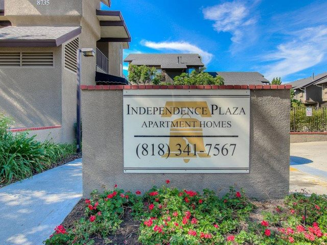 Signage of the Community at Independence Plaza Apartments, 8735 Independence Avenue, CA