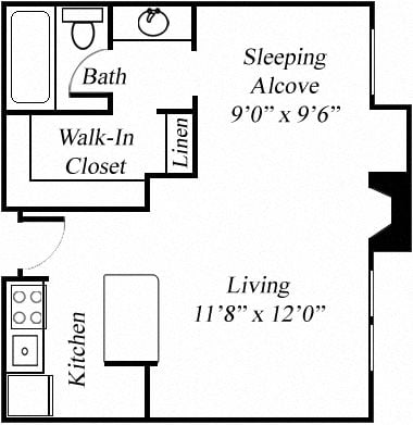 STUDIO Floorplan at Twenty 2 Eleven Apartments