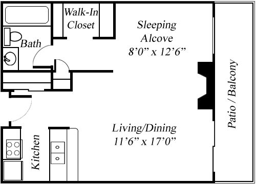 STUDIO - LARGE Floorplan at Twenty 2 Eleven Apartments