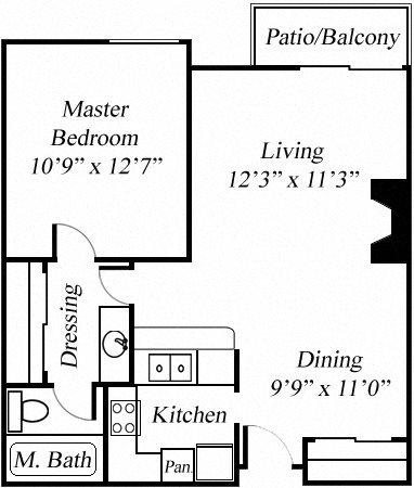1BR/1BA Floorplan at Twenty 2 Eleven Apartments