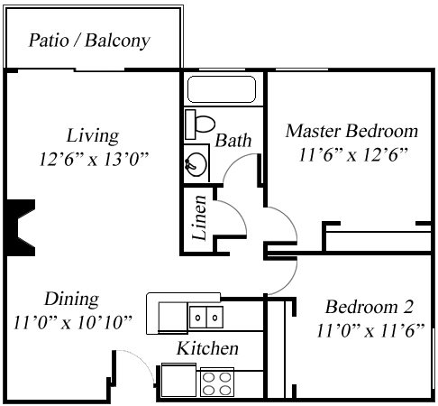 2BR/1BA Floorplan at Twenty 2 Eleven Apartments