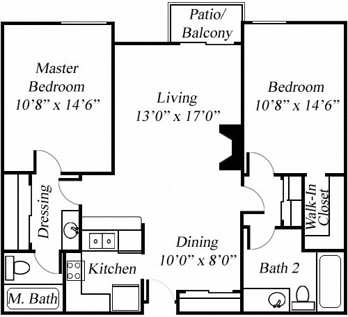 2BR/2BA Floorplan at Twenty 2 Eleven Apartments