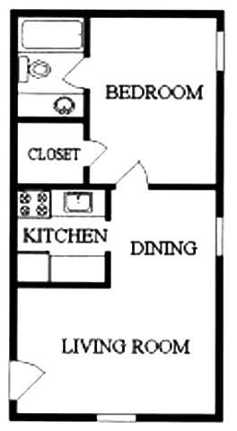 1 Bedroom 1 Bath 2nd Floor