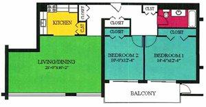 2 Bedroom 1 Bath 1456 SF