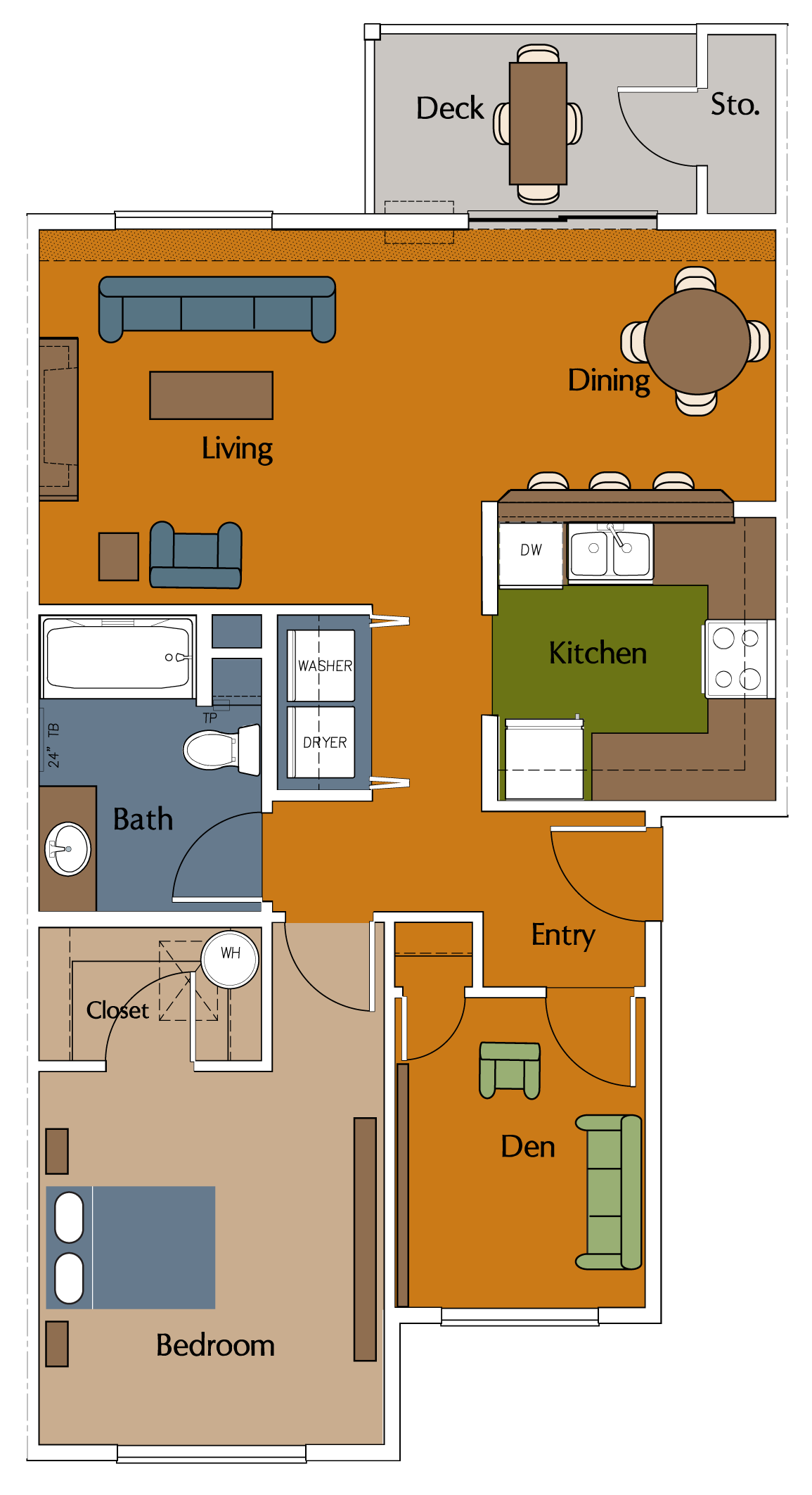 One Bedroom, One Bath with Den Floor Plan 3
