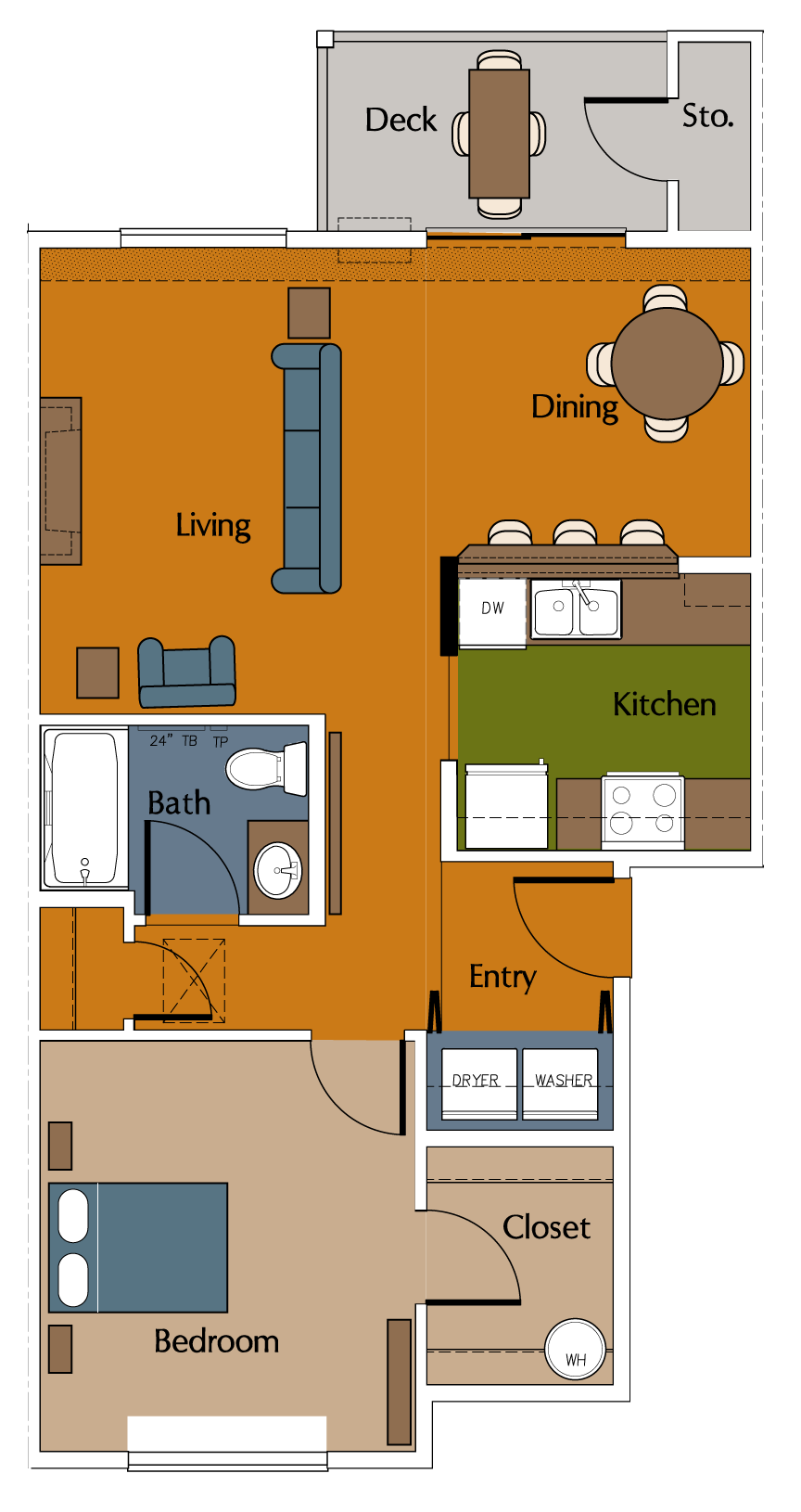 One Bedroom, One Bath Floor Plan 2