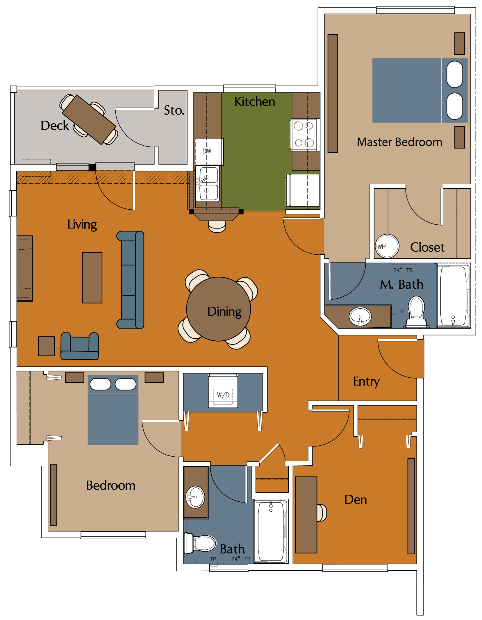 Three Bedroom, Two Bath Floor Plan 6