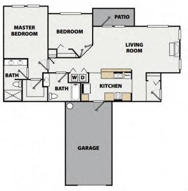 Two Bedroom, Two Bath Lower Villa Floor Plan 8