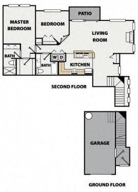 Two Bedroom, Two Bath Upper Villa Floor Plan 9