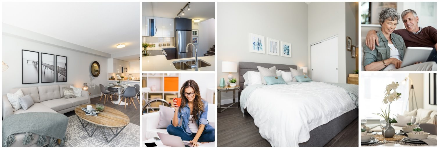 Collage of photos of happy customers and the interior designs of Novare apartment suites