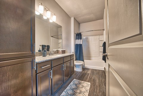 apartments baths feature granite tops and wood style flooring