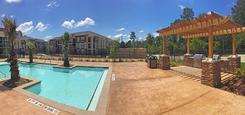 new pool with sunshelf in conroe texas