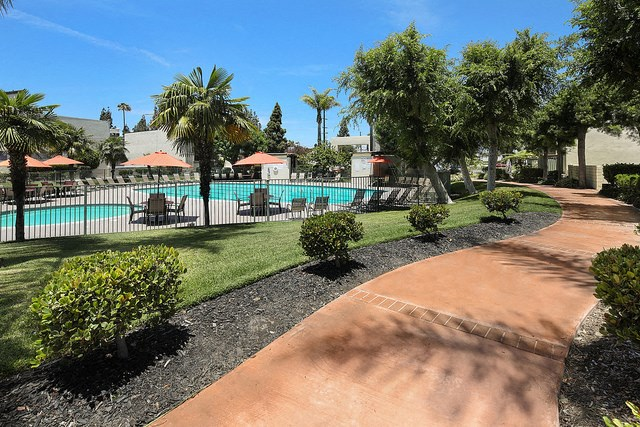 Pool with lounge chairs l Tara Hill Apartments in Anaheim, CA