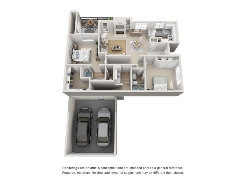 2 Bed - 2 Bath |1214 sq ft floorplan
