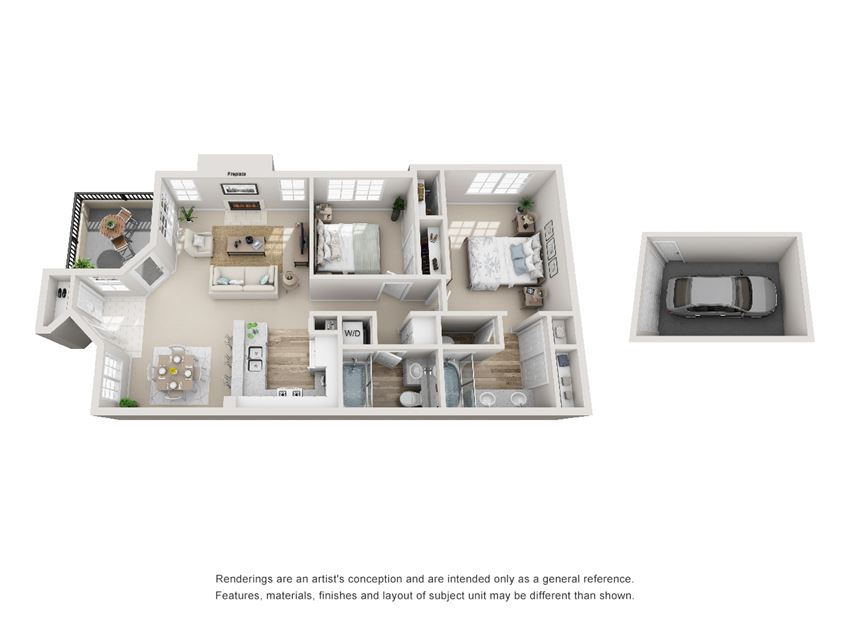 2 Bed - 2 Bath |987 sq ft floorplan