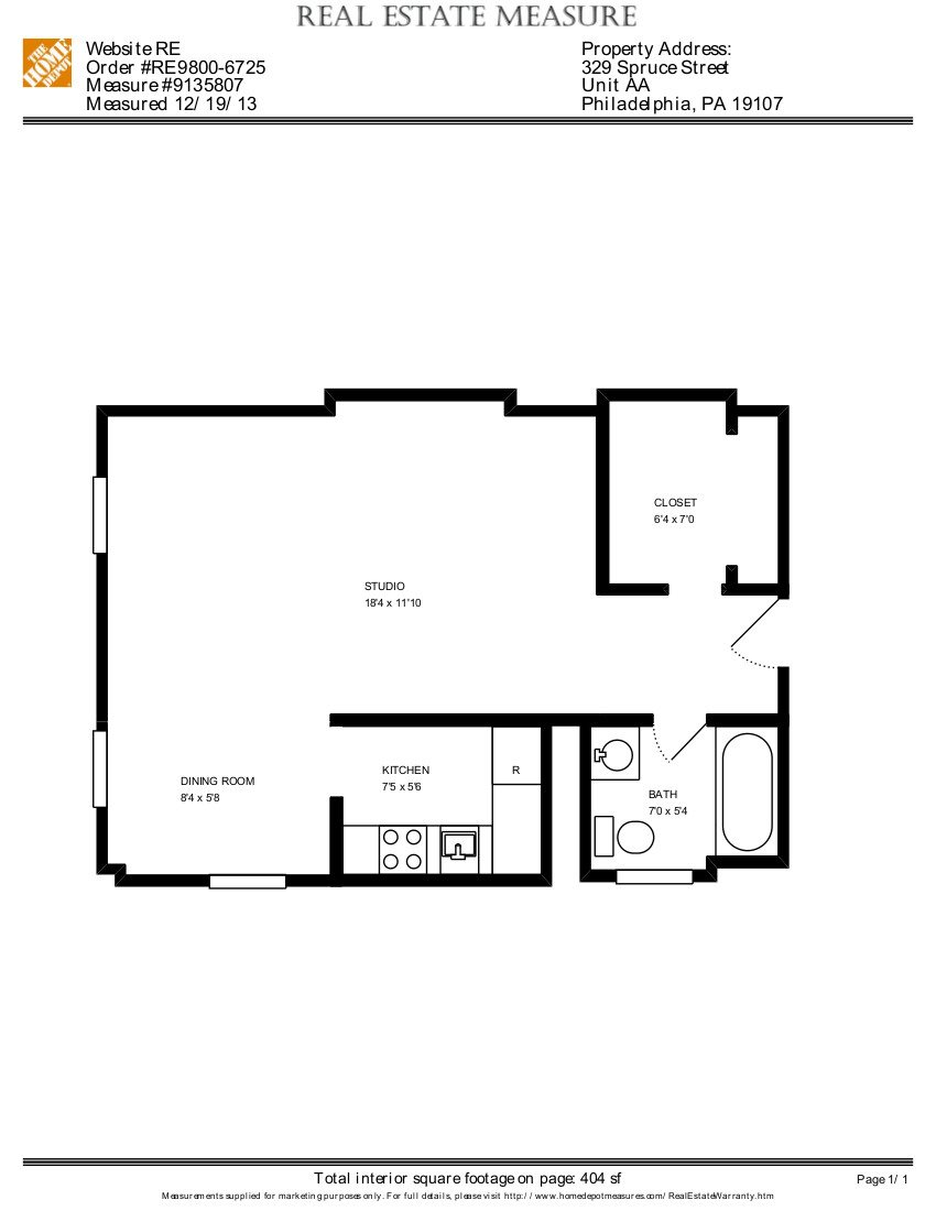 Studio, 1 Bath Floor Plan 2