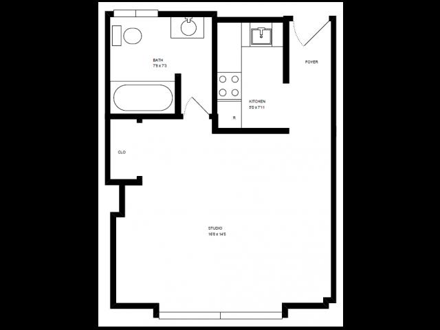 Studio, 1 Bath Floor Plan 1