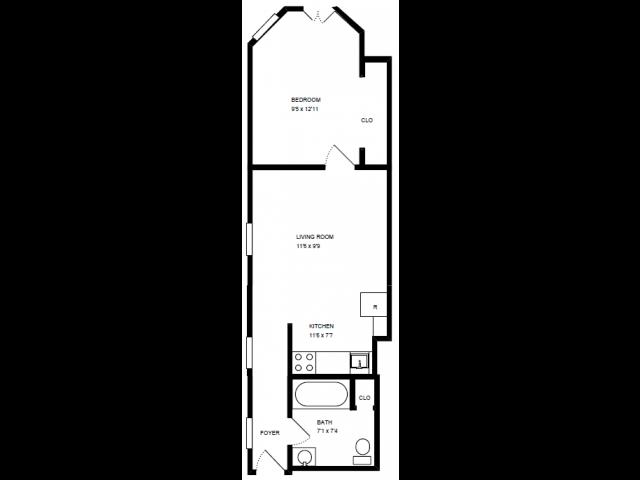 1 Bed, 1 Bath Floor Plan 2