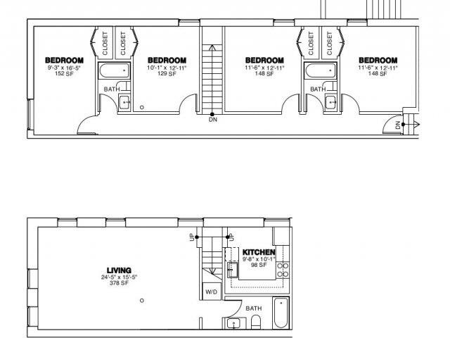 4 Bed, 3 Bath Floor Plan 2