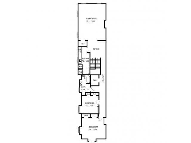 4 Bed, 2 Bath Floor Plan 1