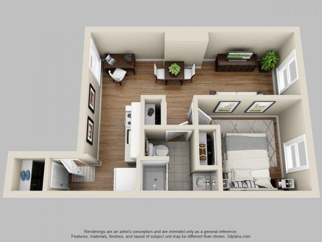 2 Bed, 1 Bath Floor Plan 1