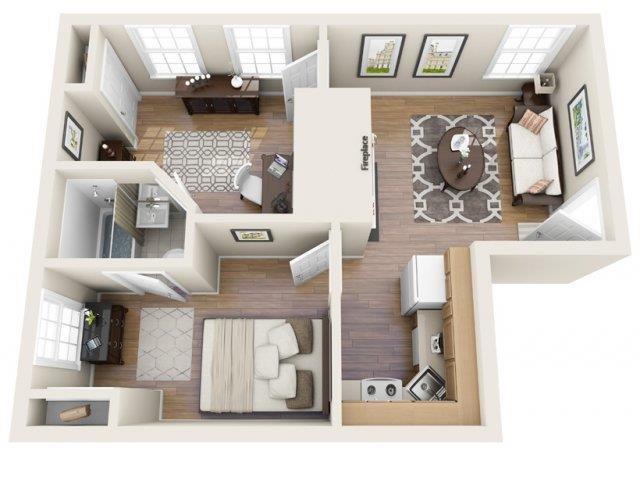 2 Bedroom, 1 Bath Floor Plan 1
