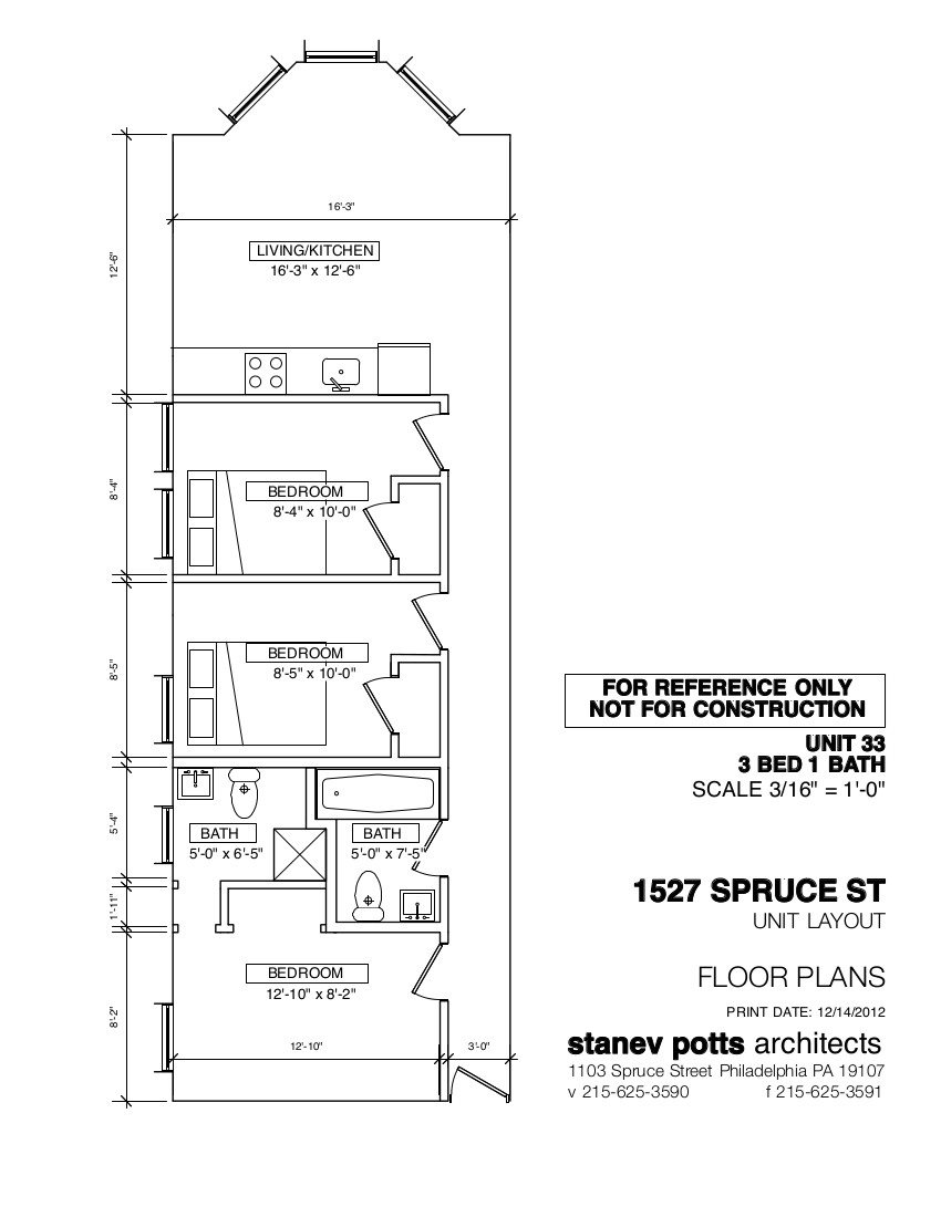 3 Bed, 2 Bath Floor Plan 6