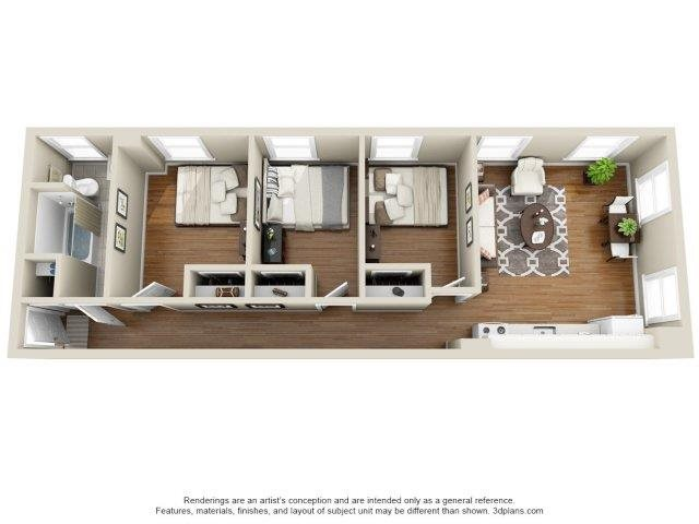 3 Bed 1 Bath Floor Plan 4