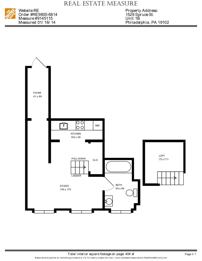 Loft, 1 Bath Floor Plan 3