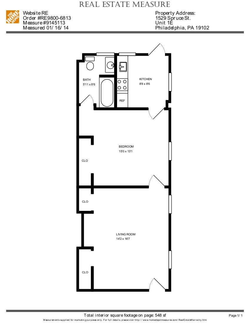 1 Bed, 1 Bath Floor Plan 2