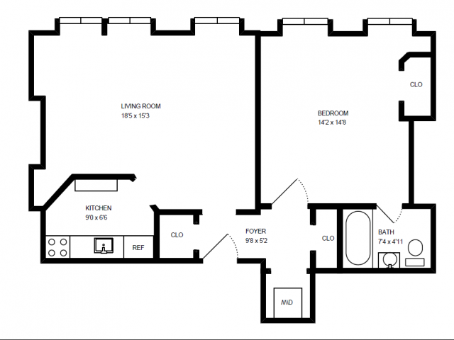 1 Bed, 1 Bath Floor Plan 1