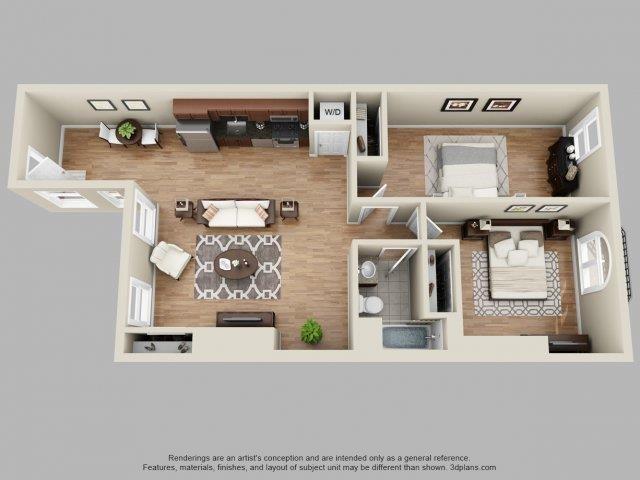 2 Bed, 1 Bath Floor Plan 3