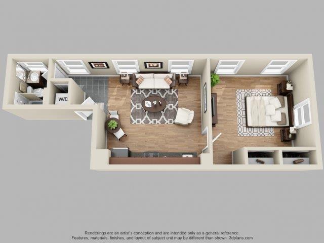 1 Bed, 1 Bath Floor Plan 1
