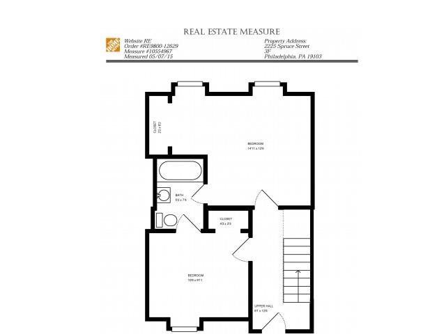 2 Bed, 1 Bath Floor Plan 1