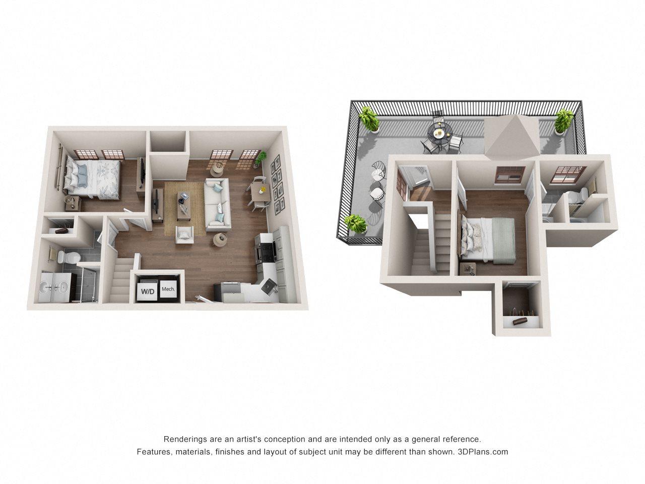 2 Bed, 2 Bath Floor Plan 4
