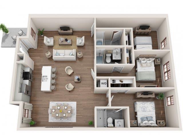 3 Bed, 3 Bath Floor Plan 2