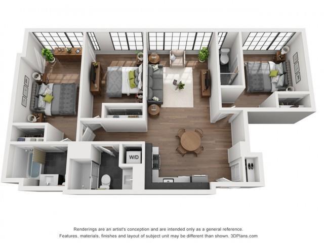3 Bed, 3 Bath Floor Plan 1