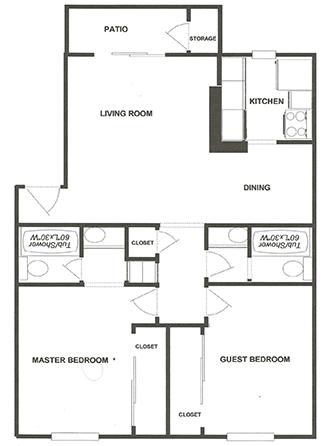 2Bd 2Ba Apartment Home Floor Plan 3