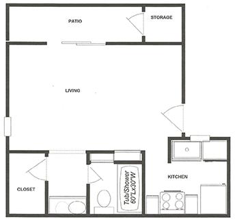 Studio Apartment Home Floor Plan 1