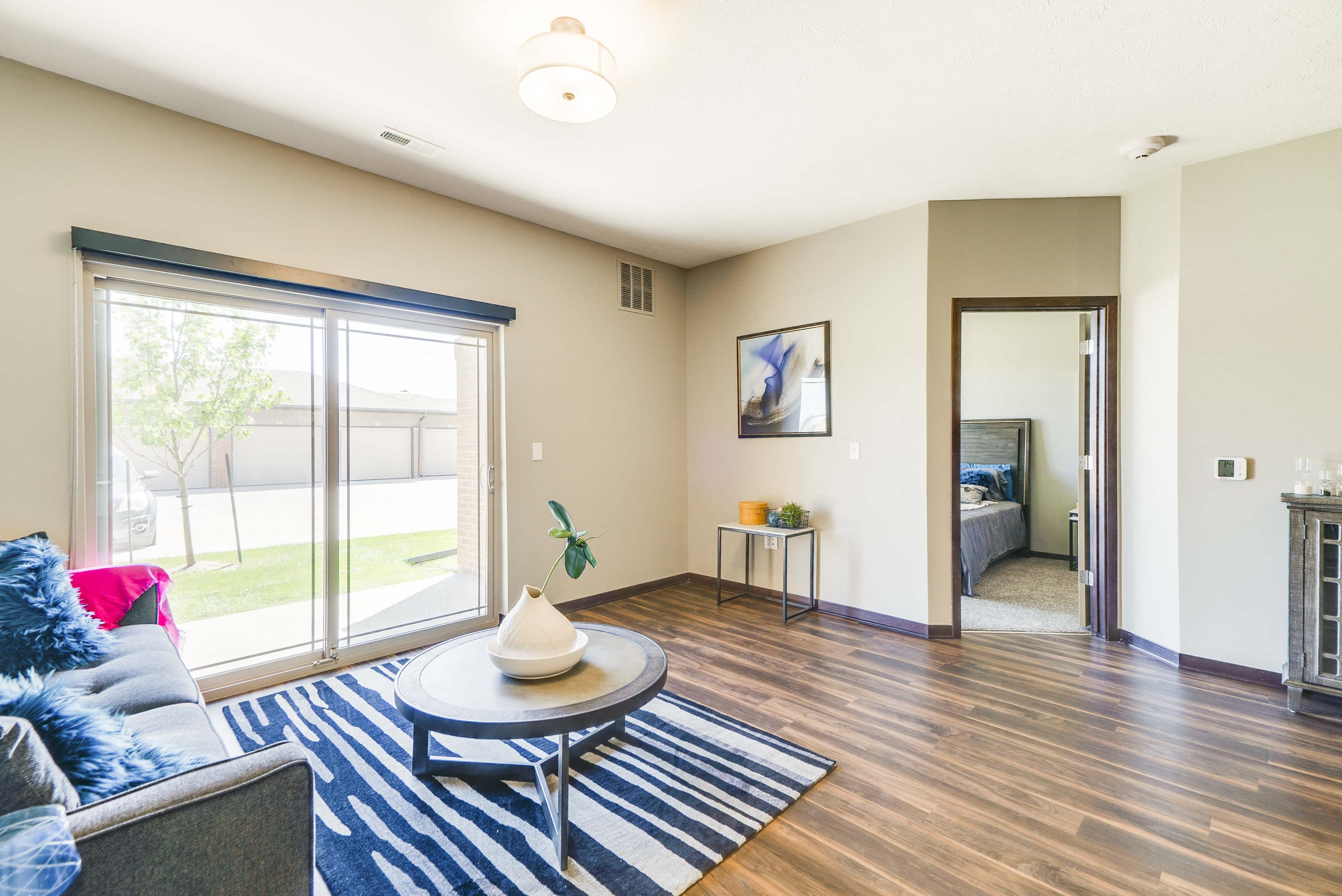 Comfortably spacious living area in a 2 bedroom apartment for rent at 360 at Jordan West best new apartments West Des Moines IA 50266