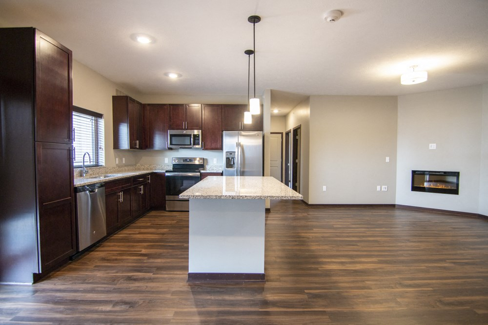 Three bedroom apartment in the Woodland floor plan at 360 at Jordan West best new apartments West Des Moines IA 50266