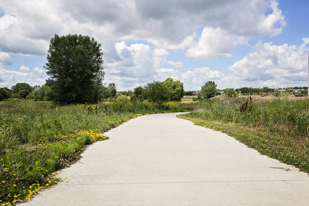 Large bike trail next at 360 at Jordan West best new apartments West Des Moines IA 50266