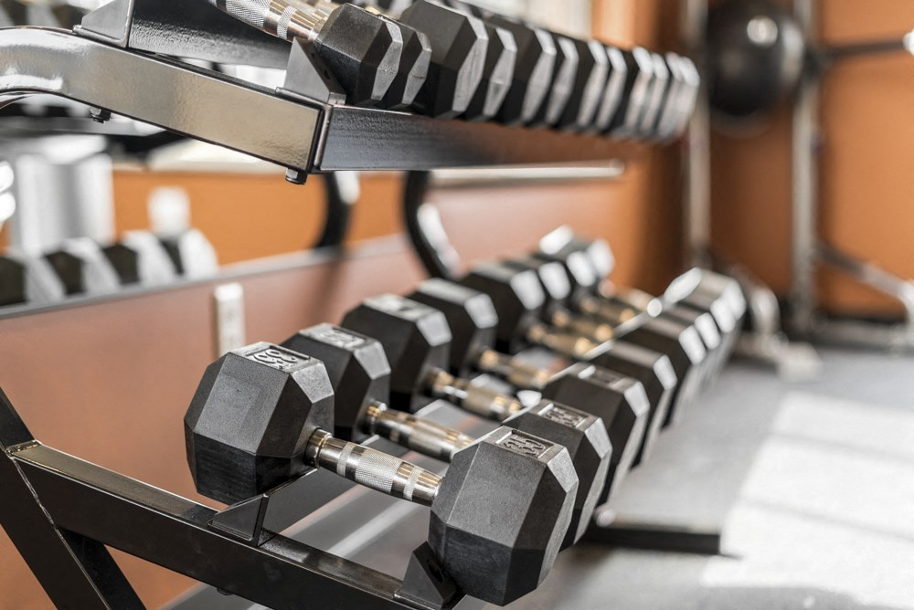 Free weights at 360 at Jordan West best new apartments West Des Moines IA 50266