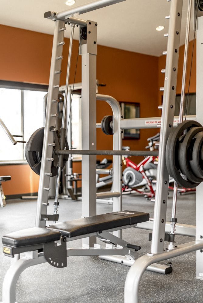 24-hour fitness center weightlifting equipment at 360 at Jordan West best new apartments West Des Moines IA 50266